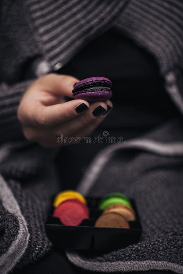 Neue bunte macarons stockbild
