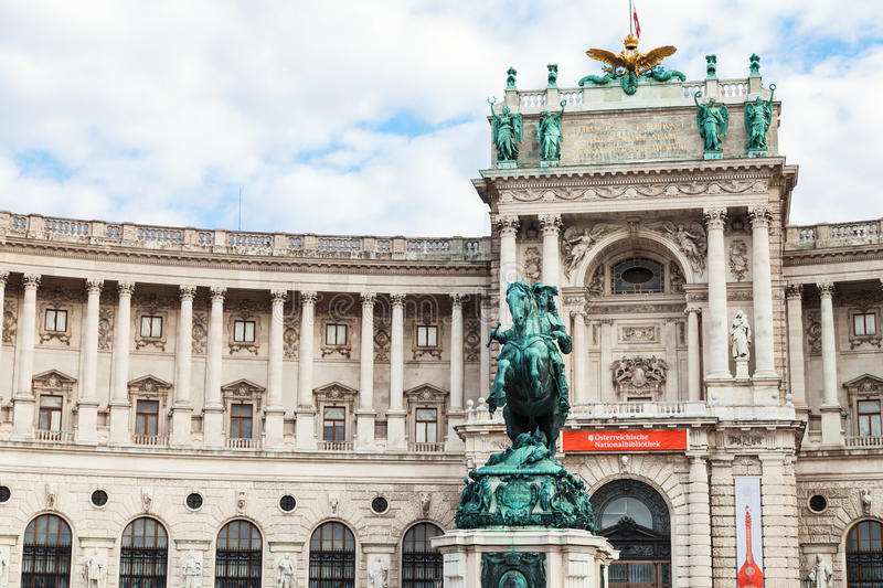 Neue Burg and statue of Prince Eugene, Vienna royalty free stock image