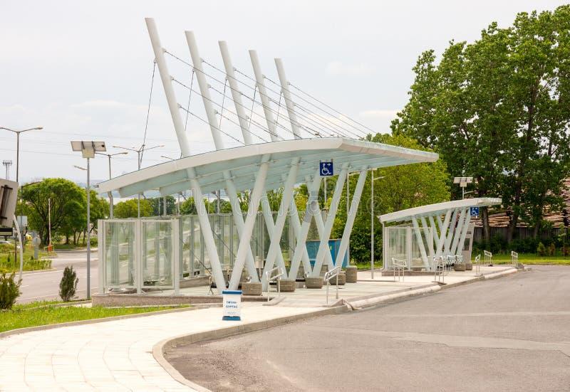 Neue Bushaltestellen in Burgas, Bulgarien lizenzfreie stockfotografie