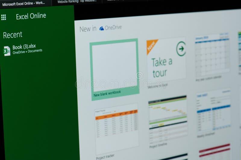 Neue Dateien im Microsoft Excel online lizenzfreie stockbilder