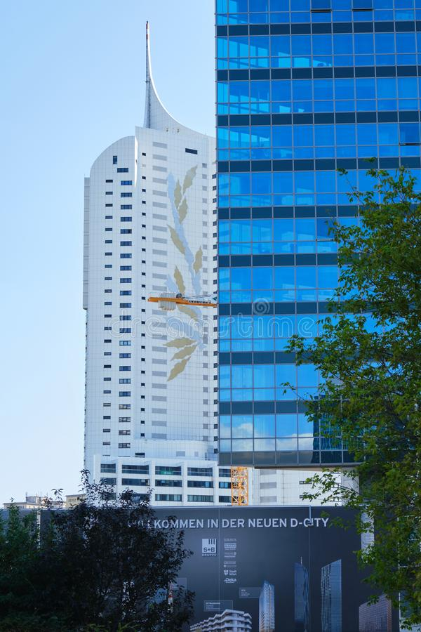 Neue Donau residential building next to an office tower, in Donau City 22 district - frontal view stock photography