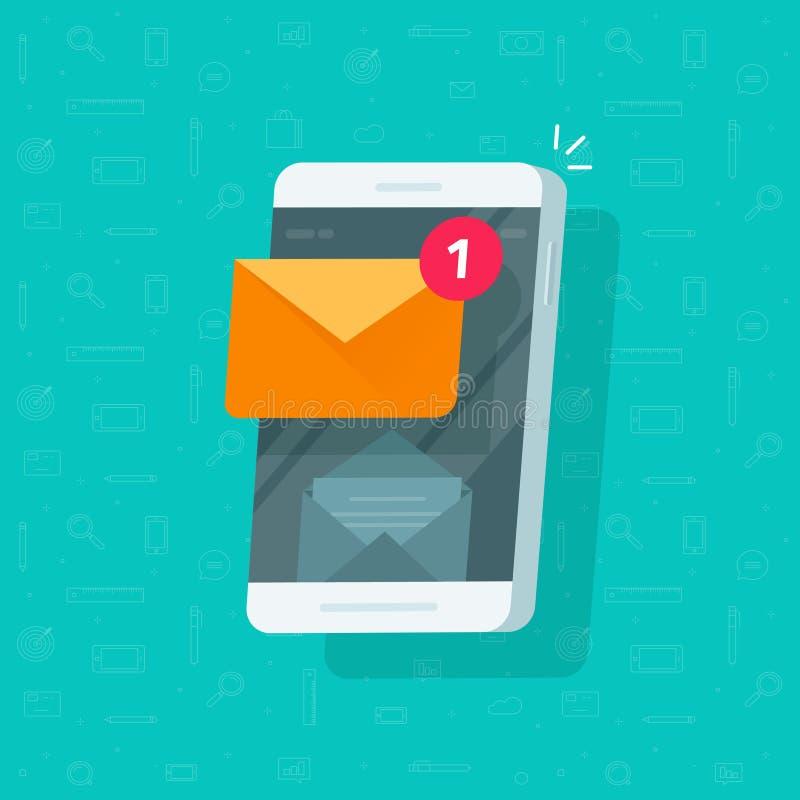 Neue E-Mail-Mitteilung auf Handyvektorillustration, flacher Karikatur Smartphoneschirm mit neuer ungelesener E-Mail stock abbildung