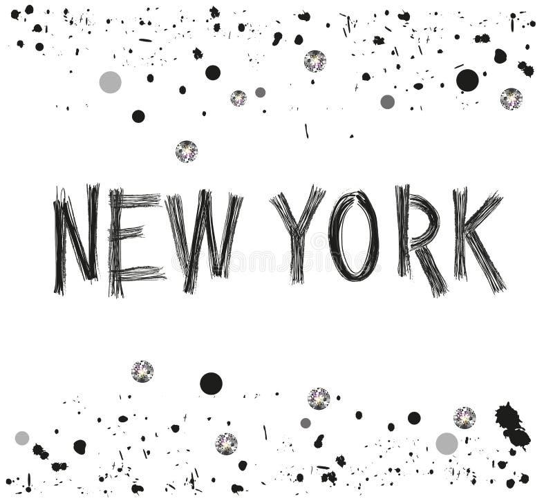 Neue entwerfen gezeichneter Buchstabe yok Stadt Hand mit funkelnden Punkten und Farbenspritzenplakat stock abbildung