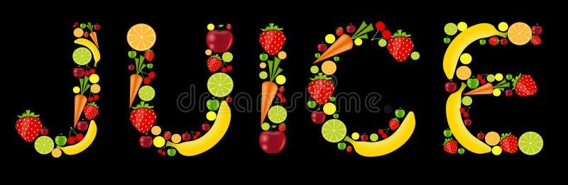 Neue Fruchtsaft-Wortvektorabbildung stock abbildung
