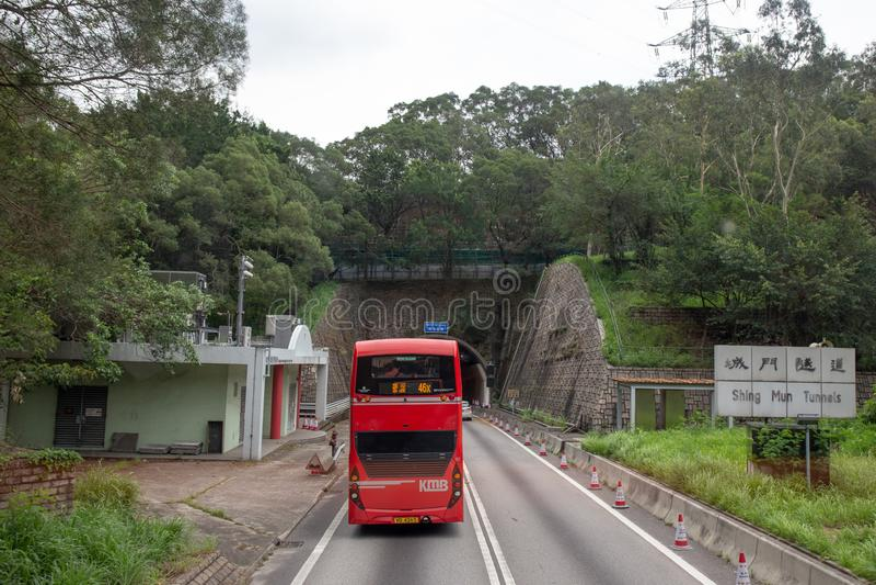Neue Gebiete, Hong Kong- 9. Juni 2018: Roter doppelstöckiger Bus Pas stockfotografie