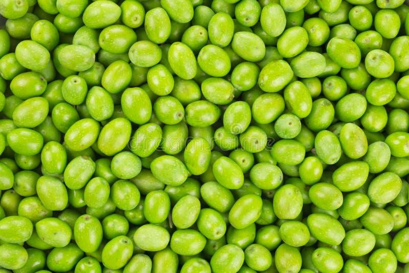 Neue geerntete Musterbeschaffenheit der grünen Olive stockfoto