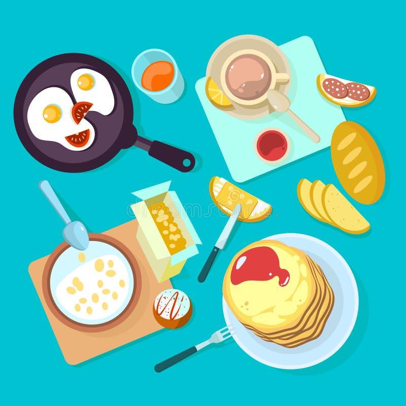 Neue gesunde Frühstücksnahrung und Draufsicht der Getränke lokalisiert auf blauem backgraund vektor abbildung
