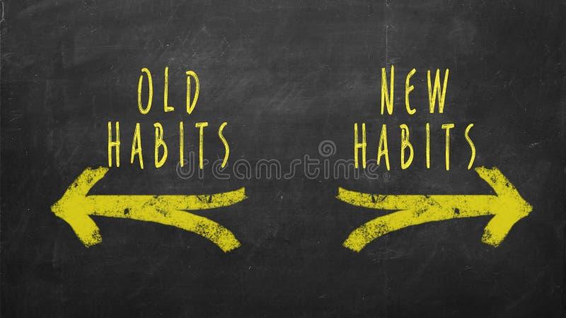 Neue Gewohnheiten gegen alte Gewohnheiten stockfotos