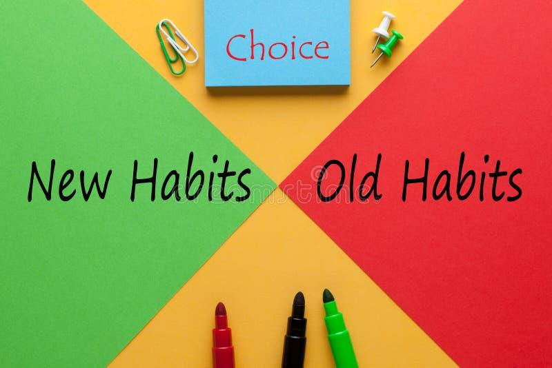 Neue Gewohnheits-altes Gewohnheits-Konzept lizenzfreie stockfotografie