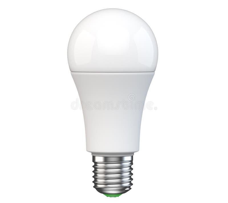 Neue Glühlampe der Technologie LED lokalisiert auf weißem Hintergrund Realistische Wiedergabe 3d des elektrischen Lichtes der Ene lizenzfreie abbildung