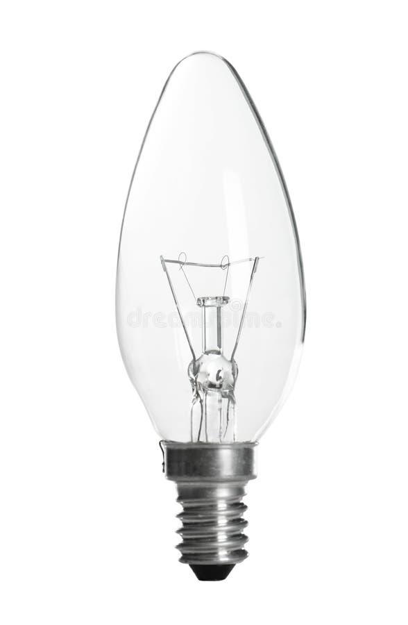 Neue Glühlampebirne für Lampe auf Weiß lizenzfreie stockbilder