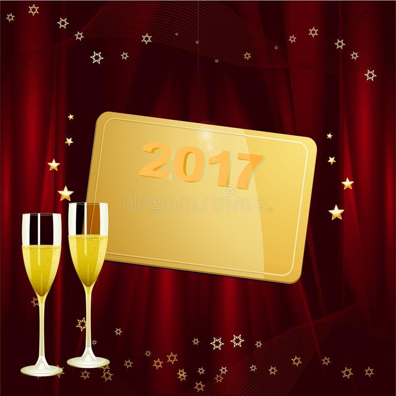 Neue Jahre goldenes Tag mit Datum und Champagner stock abbildung