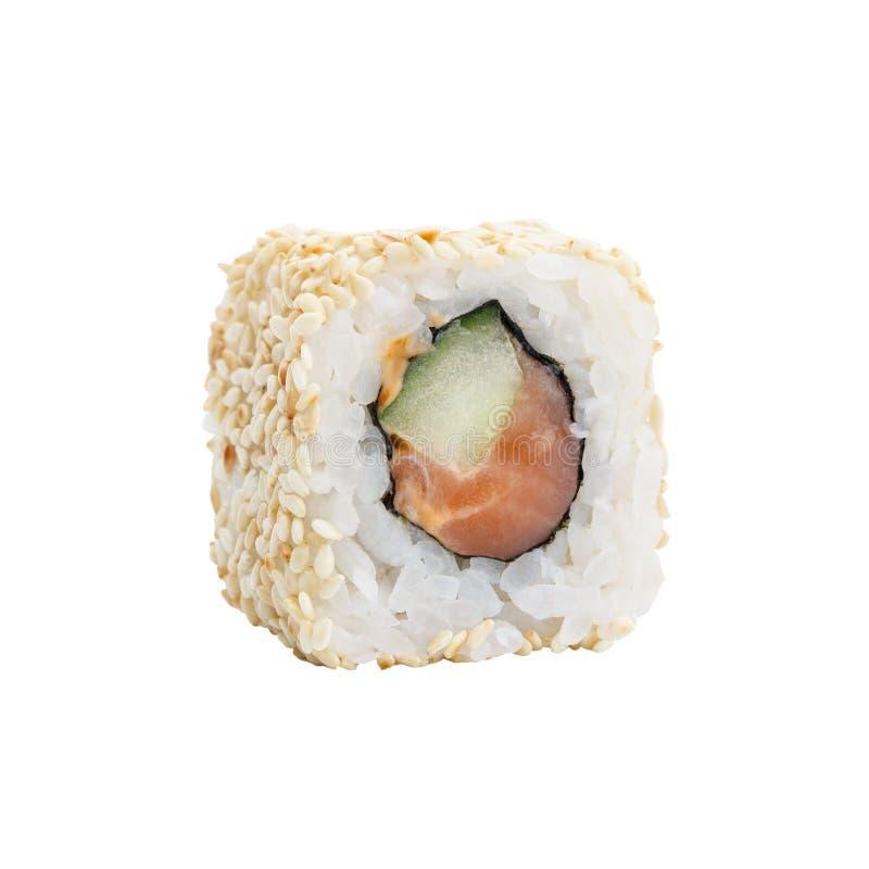 Neue japanische Sushirollen auf einem weißen Hintergrund stockbild