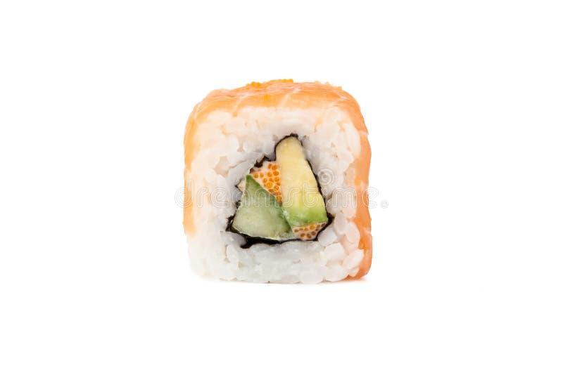 Neue japanische Sushirollen auf einem weißen Hintergrund lizenzfreie stockbilder