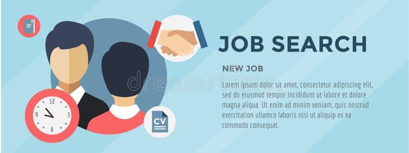 Neue Jobsuche Infographic Einstellung, Büro stock abbildung