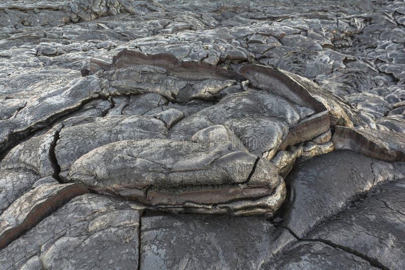 Neue kalte Lava auf Kalapana, große Insel Hawaiis lizenzfreie stockbilder