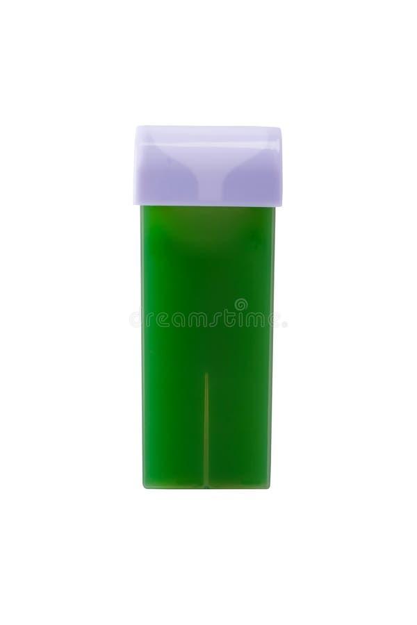 Neue Kassette mit grünem Wachs für Haarabbau auf weißen Hintergrund lizenzfreies stockfoto