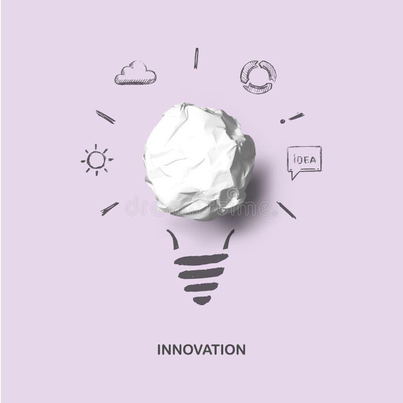 Neue kreative Idee Kunstkonzept der Idee und der Innovation mit realistischer Papierbirne und Skizze stock abbildung