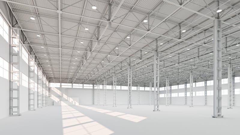 Neue leere weiße Industriegebäudeinnen-Illustration 3d lizenzfreie abbildung