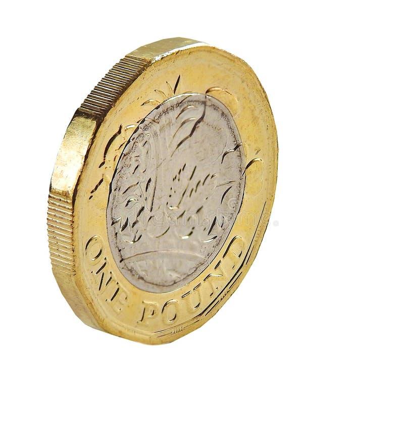 Neue Münze des britischen Pfunds bindet Rückseite an lizenzfreie stockfotografie