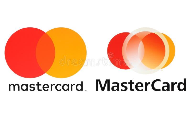 Neue MasterCard-Logos gedruckt auf Weißbuch vektor abbildung