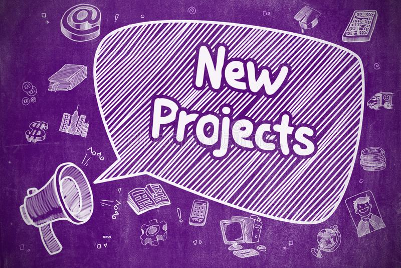 Neue Projekte - Handgezogene Illustration auf purpurroter Tafel vektor abbildung