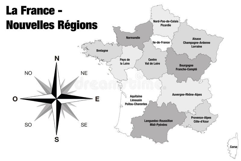 Neue Regionen von Frankreich - endgültige Version stock abbildung