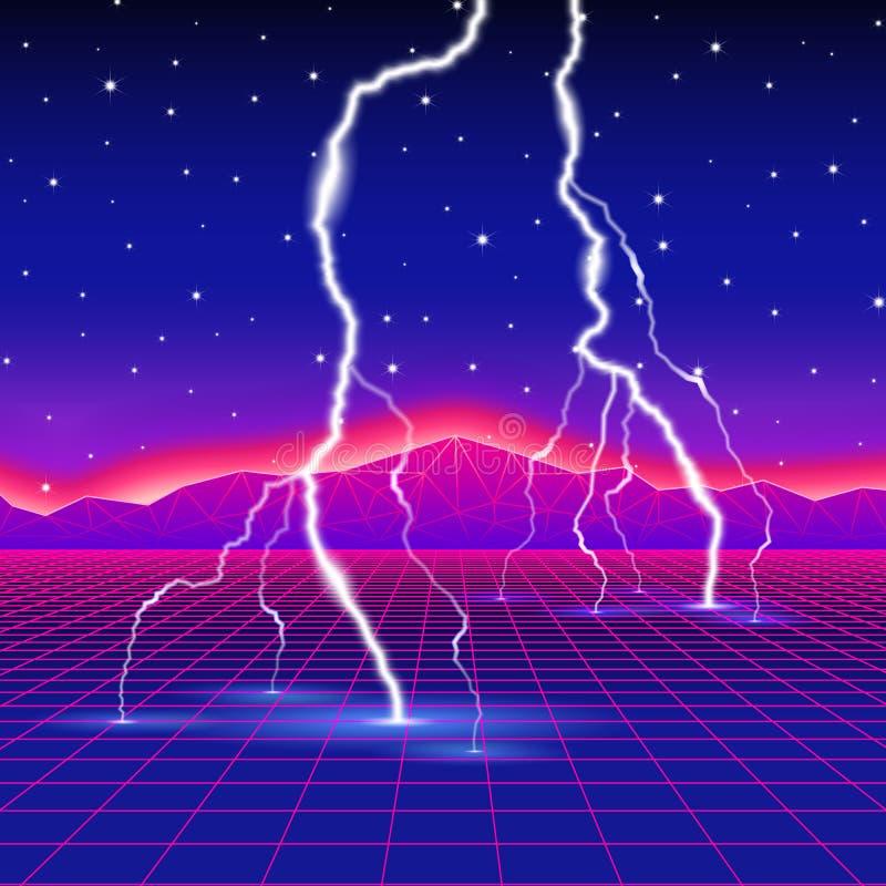Neue Retro- Wellencomputerneonlandschaft mit Blitz vektor abbildung