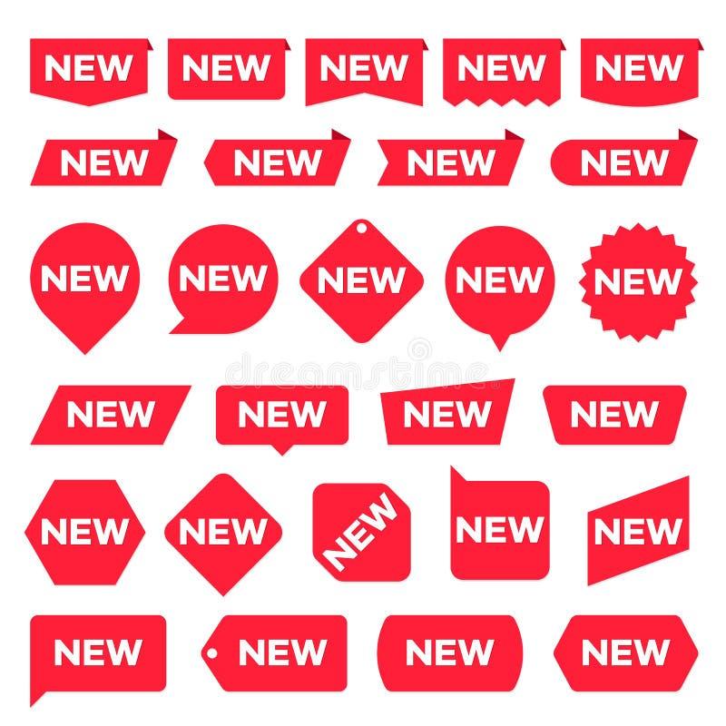 Neue Rotaufkleber Moderner Akzent, neue Geschäftsförderungsaufkleber Karikatur polar mit Herzen vektor abbildung