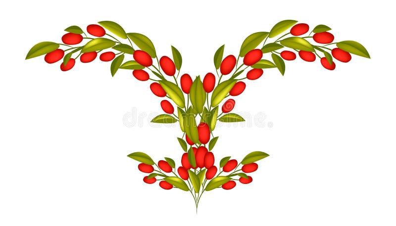 Neue rote Oliven auf einer Niederlassung auf weißem Hintergrund vektor abbildung