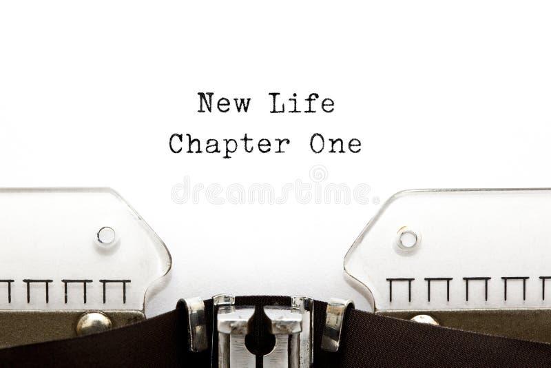 Neue Schreibmaschine des Leben-Kapitel-eins lizenzfreie stockfotografie