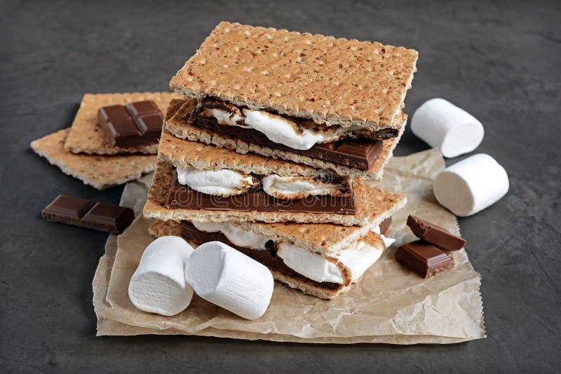 Neue selbst gemachte smores mit Eibischen, Schokolade und Graham-Crackern lizenzfreie stockfotos