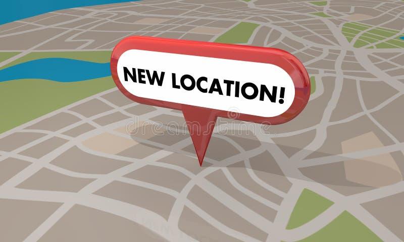 Neue Standort-Speicher-Geschäfts-festliche Eröffnung Pin Map 3d Illustratio lizenzfreie abbildung
