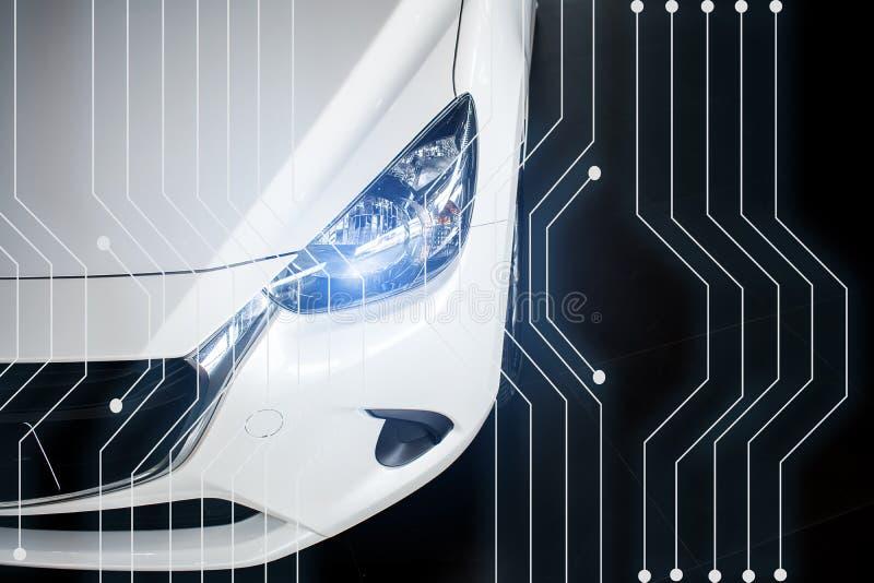 Neue Technologie des modernen Fahrzeugs des Autos im Ausstellungsraum undeutlich lizenzfreie stockfotografie
