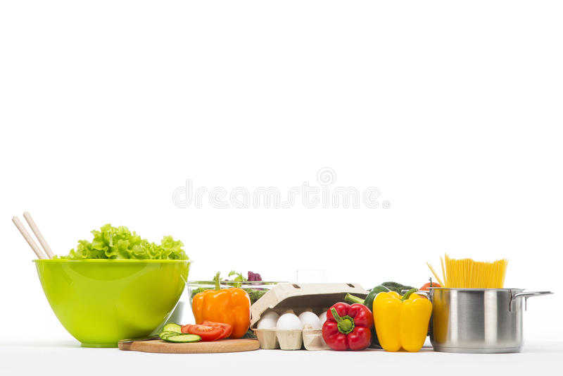 Neue und gesunde Lebensmittelcollage auf Weiß stockbilder
