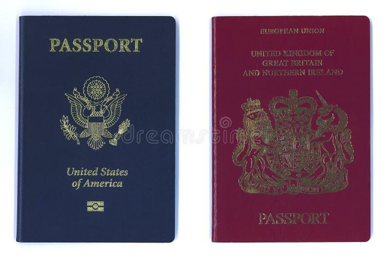 Neue US-und EU-Pässe stockbild
