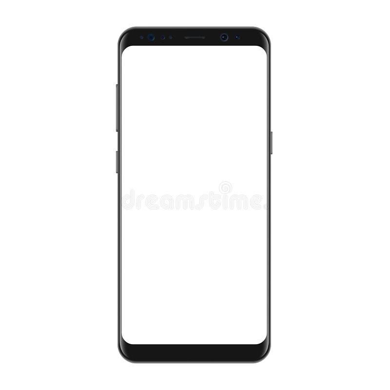 Neue Version modernen Vektor Smartphone mit leerem weißem Schirm Frameless Anzeige Smartphone lizenzfreie abbildung