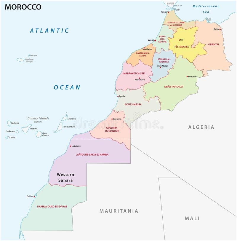 Neue Verwaltungs- und politische Karte der zwölf Regionen des Königreichs Marokko 2015 lizenzfreie abbildung