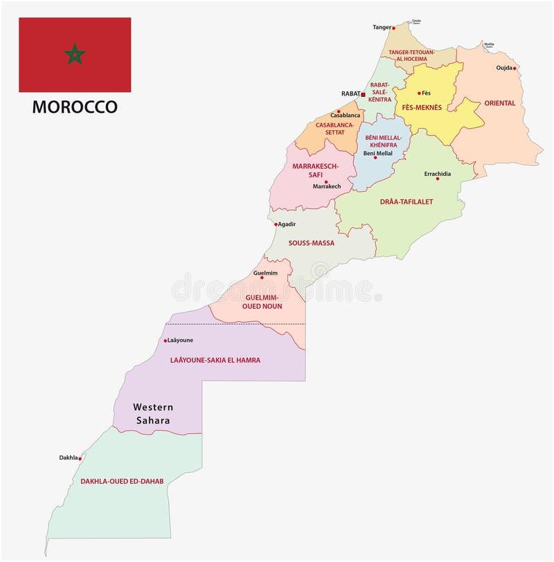 Neue Verwaltungs- und politische Karte der zwölf Regionen des Königreichs Marokko 2015 mit Flagge stock abbildung