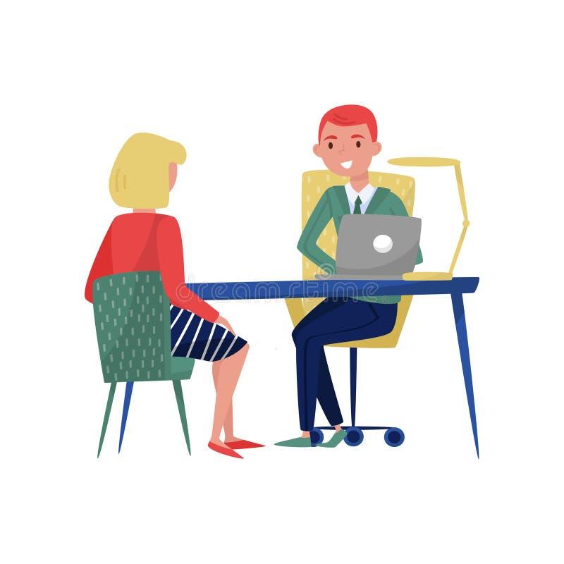 Neue weibliche Angestelltbewerber- und -chefsitzung an seinem Büro, an Arbeitssuchenden und an Arbeitgeber, die im Tisch und in d lizenzfreie abbildung