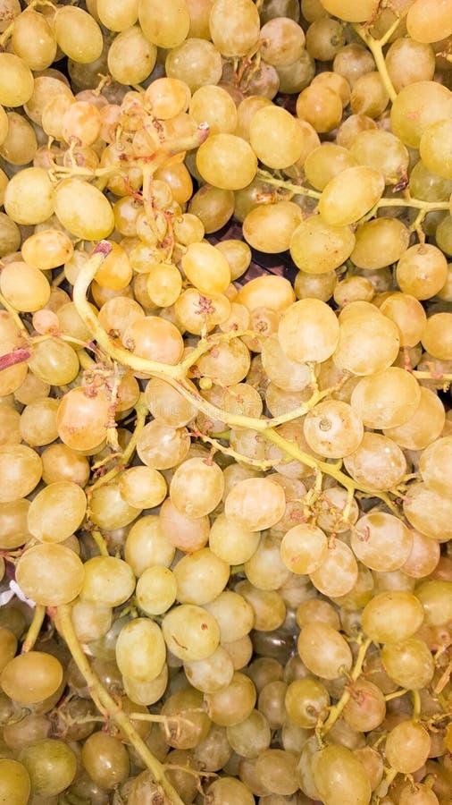 neuer Abschluss herauf weiße Trauben am Landwirtmarkt stockfoto