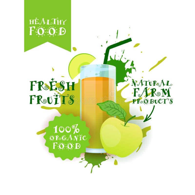 Neuer Aufkleber Apples Juice Logo Natural Food Farm Products über Farben-Spritzen-Hintergrund vektor abbildung