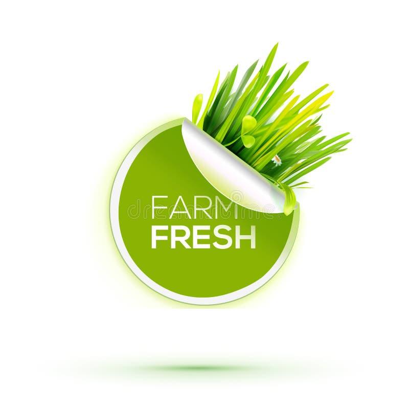 Neuer Aufkleber des grünen Bauernhofes mit grünem realistischem Gras vektor abbildung