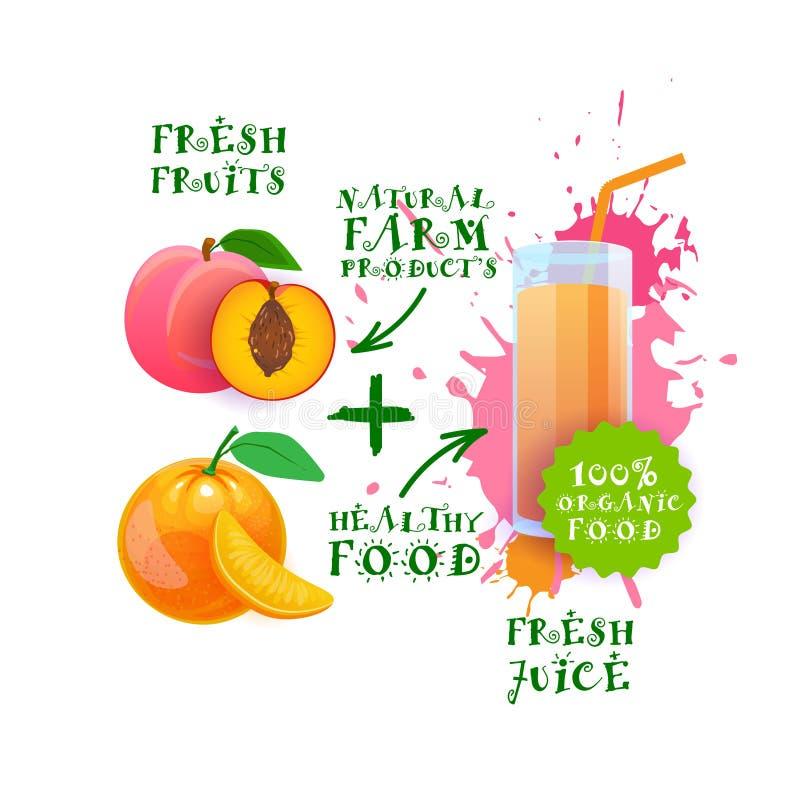 Neuer Aufkleber Juice Cocktail Peach And Oranges Logo Natural Food Farm Products stock abbildung