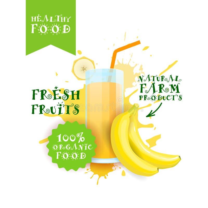 Neuer Bananen-Juice Logo Natural Food Farm Products-Aufkleber über Farben-Spritzen-Hintergrund lizenzfreie abbildung