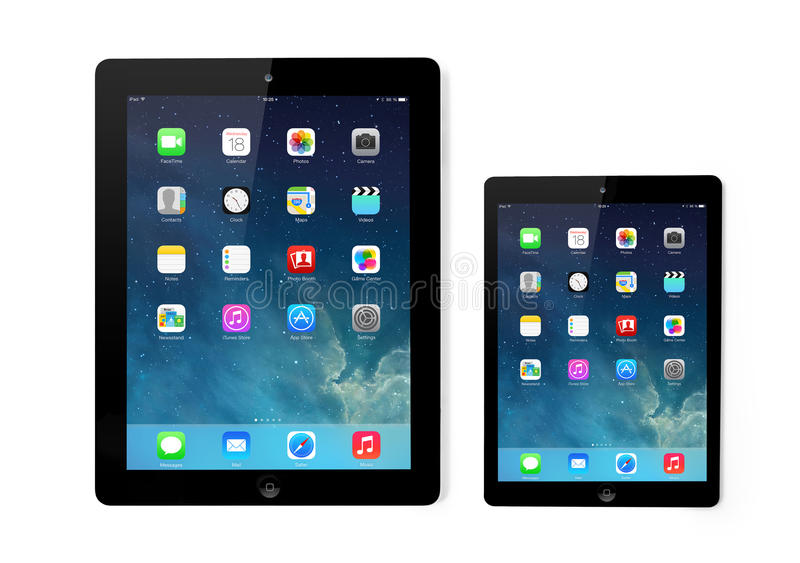 Neuer Betriebssystem- Schirm IOS 7 auf iPad und iPad Mini-Apple lizenzfreie abbildung