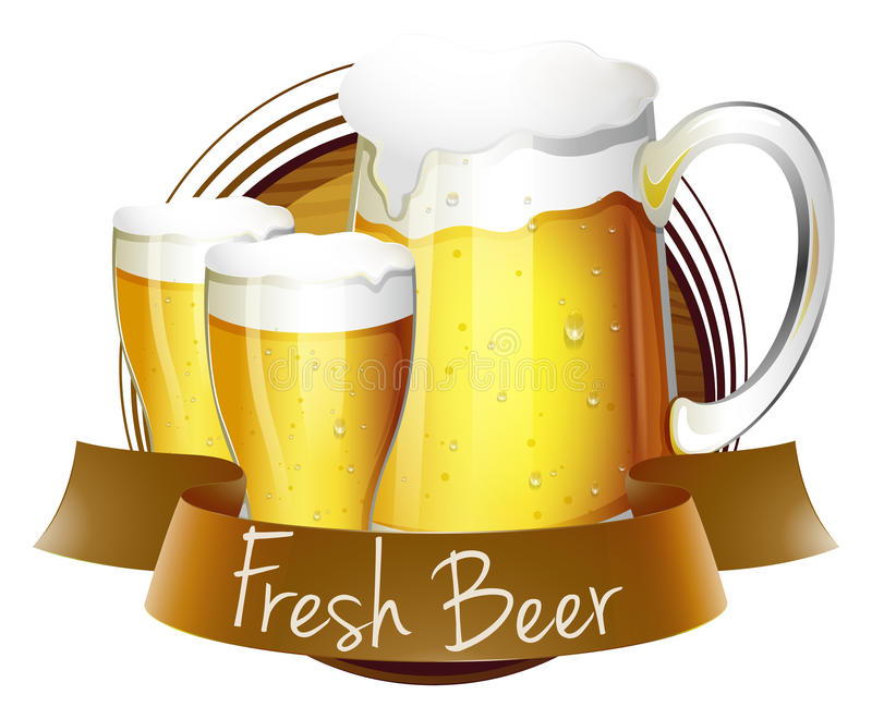 Neuer Bieraufkleber mit Pitcher und Gläsern Bier vektor abbildung