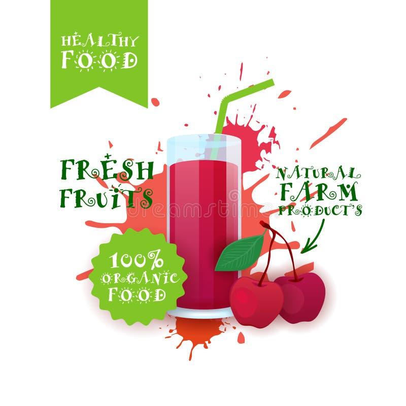 Neuer Cherry Juice Logo Natural Food Farm Products-Aufkleber über Farben-Spritzen-Hintergrund vektor abbildung