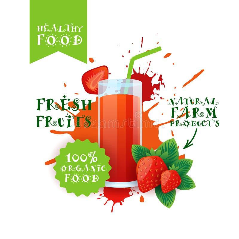 Neuer Erdbeer-Juice Logo Natural Food Farm Products-Aufkleber über Farben-Spritzen-Hintergrund stock abbildung