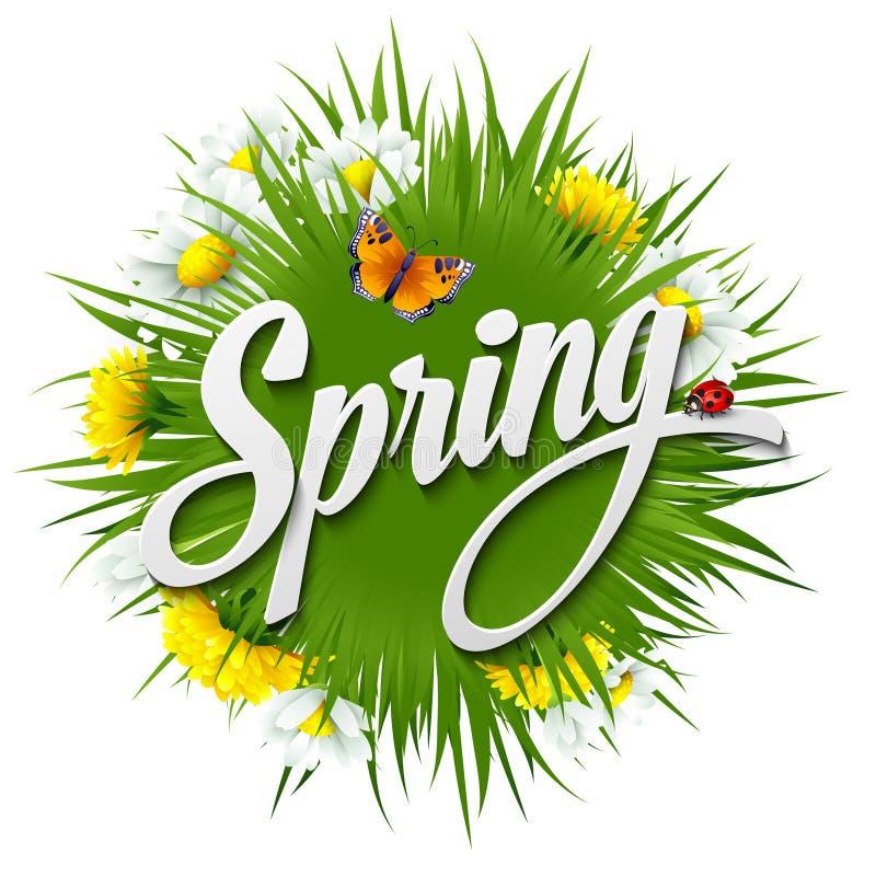 Neuer Frühlingshintergrund mit Löwenzahn und lizenzfreie abbildung